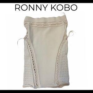 Ronny Kobo lace up sides white bandage skirt Sz L